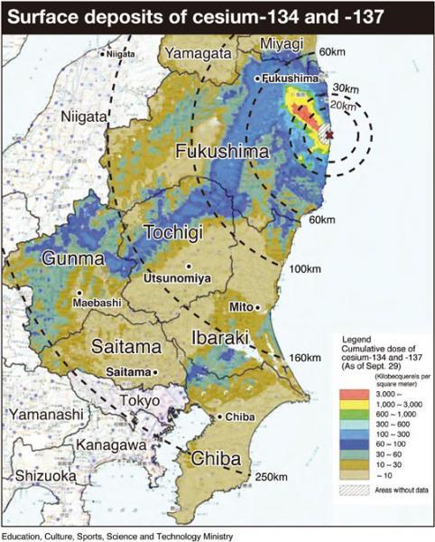 Cesium Fallout Map Illustrates Kanto Levels | Japan